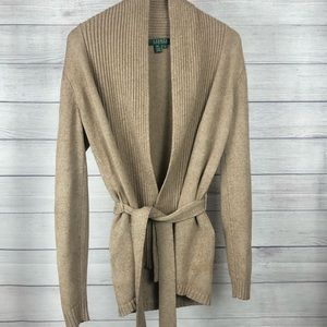 Ralph Lauren Cardigan Tan with Belt